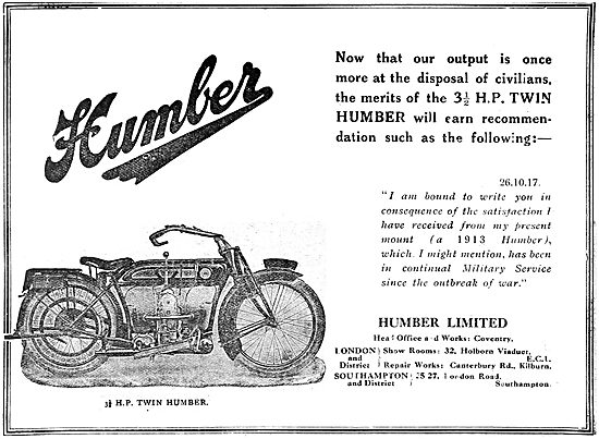 Humber Motor Cars & Motorcycles 1919