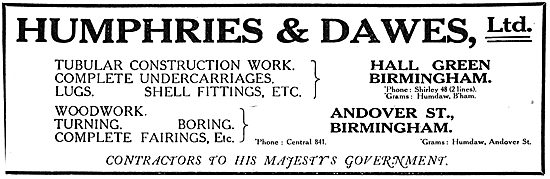 Humphries & Dawes Ltd - Aeronautical Engineering. 1918