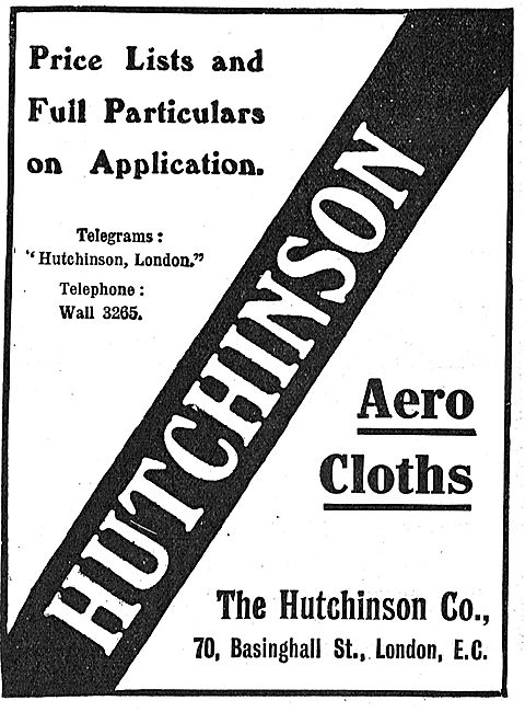 Hutchinson Co Aerocloths 70 Basinghall St London EC