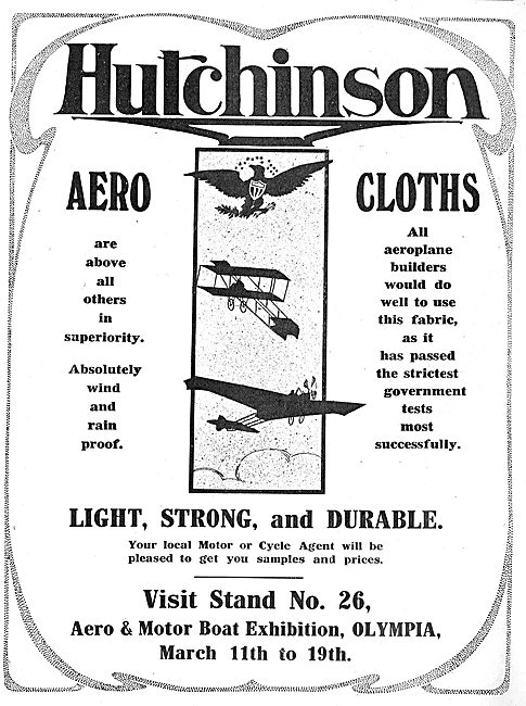 All Aeroplane Builders Will Do Well To Use Hutchinson Aerocloths