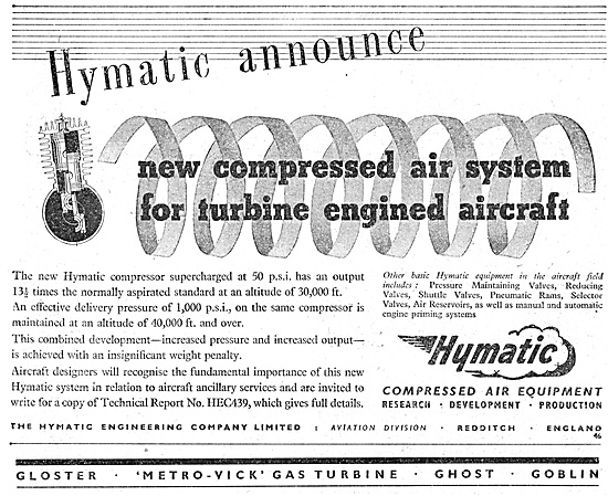 Hymatic Compressed Air System For Jet Aircraft 1947