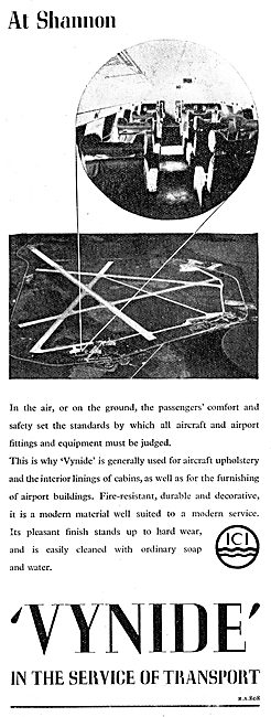 ICI Vynide PVC Coated Fabric For Aircraft Interiors 1949