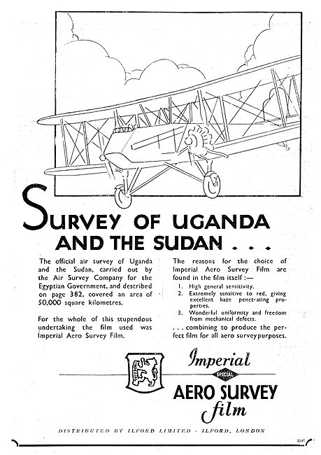 Ilford Special Air Survey Film Used For Survey Of Uganda & Sudan