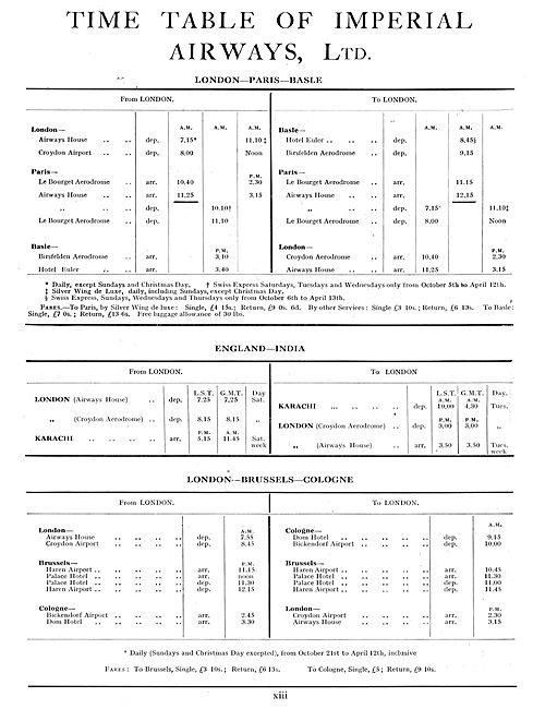 Imperial Airways London-Paris-Basle Timetable