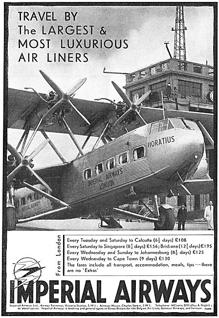 Imperial Airways To Calcutta & Singapore. HP 42 Horatius