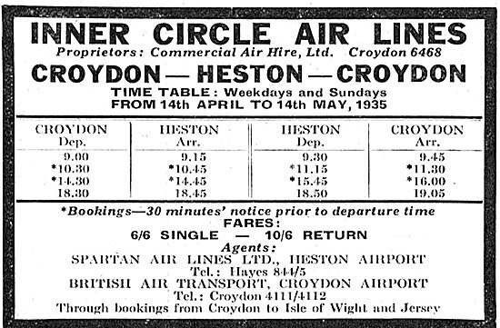 Inner Circle Air Lines : Croydon - Heston - Spartan - BAT