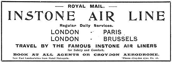 Instone Air Line Croydon Aerodrome. Paris-London-Brussels