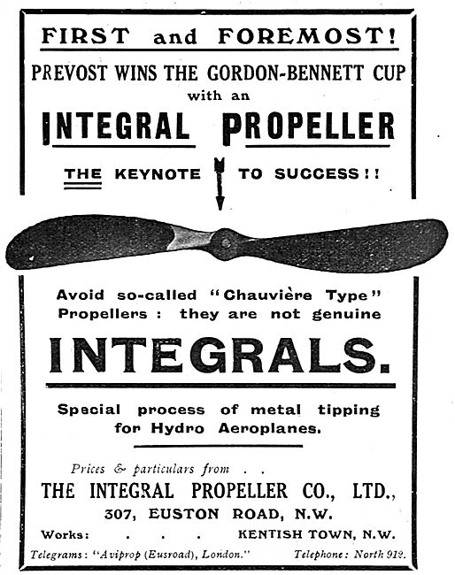 Integral Propellers Win Gordon-Bennett Cup