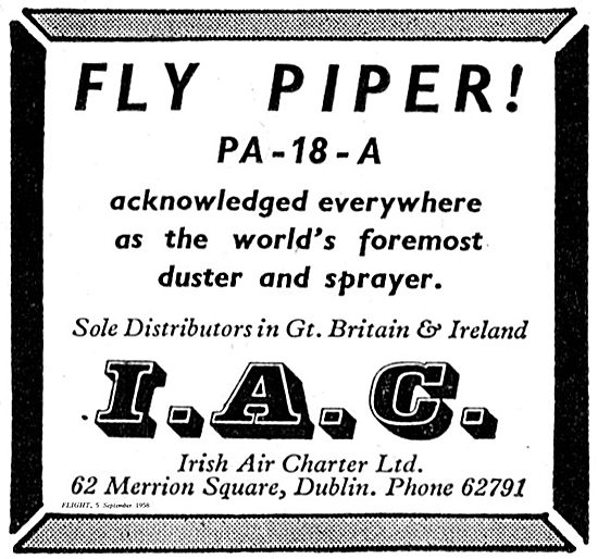 Irish Air Charter. Distributors Piper PA 18 Crop Sprayer Aircraft