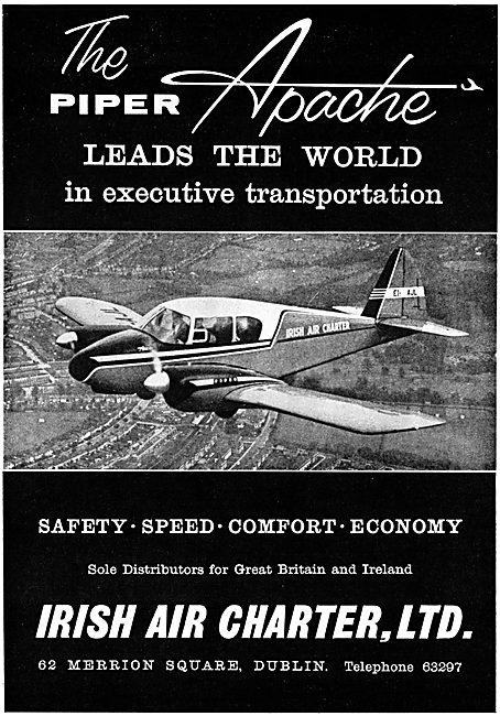 Irish Air Charter Dublin - Piper Apache. 1957 Advert