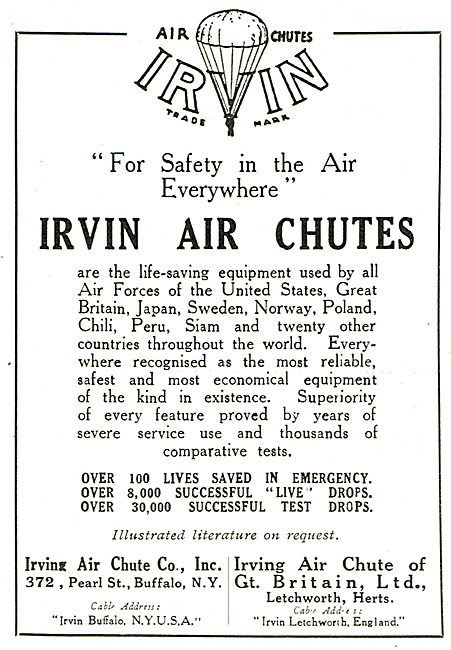 Irvin Air Chutes Used By All The Major Air Forces