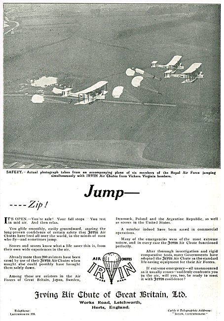 Irvin Air Chutes - RAF Parachutists Jump From Vickers Virginia