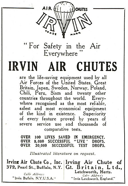 Irvin Air Chutes Are Life Saving Equipment Throughout The World