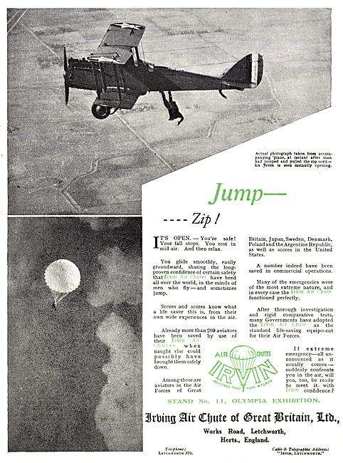 Irvin Parachutes 1929