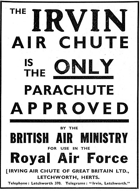 Irvin Air Ministry Approved Parachutes For The Royal Air Force