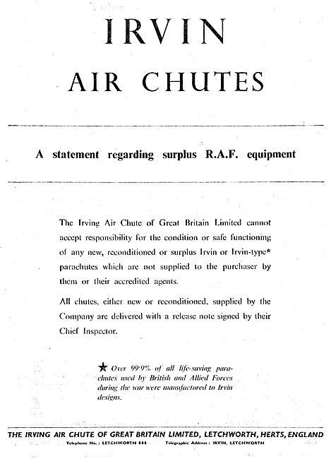 Irving Air Chute Statement Regarding RAF Surplus Parachutes