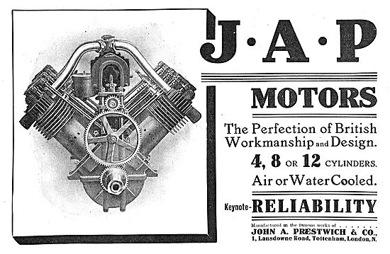 JAP Aero Engines - 4,8 Or 12 Cylinder, Air Or Water Cooled