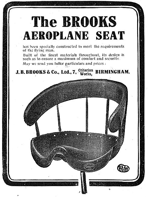 The Brooks Aeroplane Seat : J.B.Brooks Criterion Works Birmingham