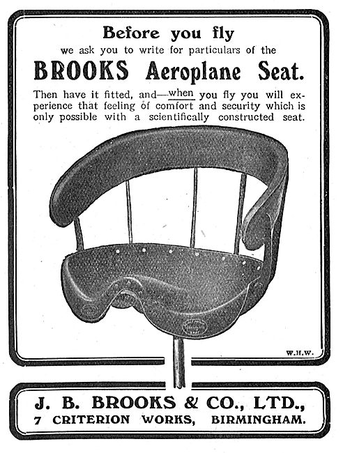 Write For Particulars Of  Brooks Aeroplane Seats Before You Fly