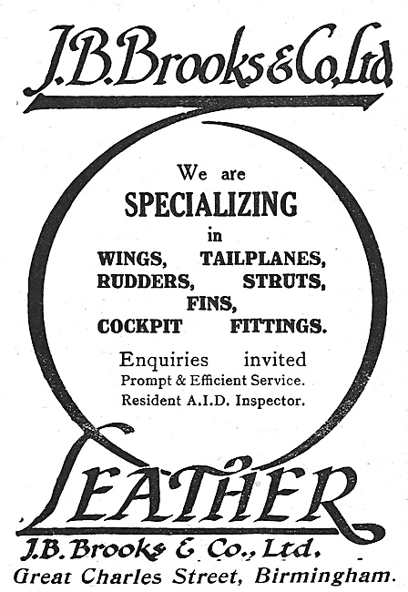 J.B.Brooks Aircraft Parts & Fittings 1918