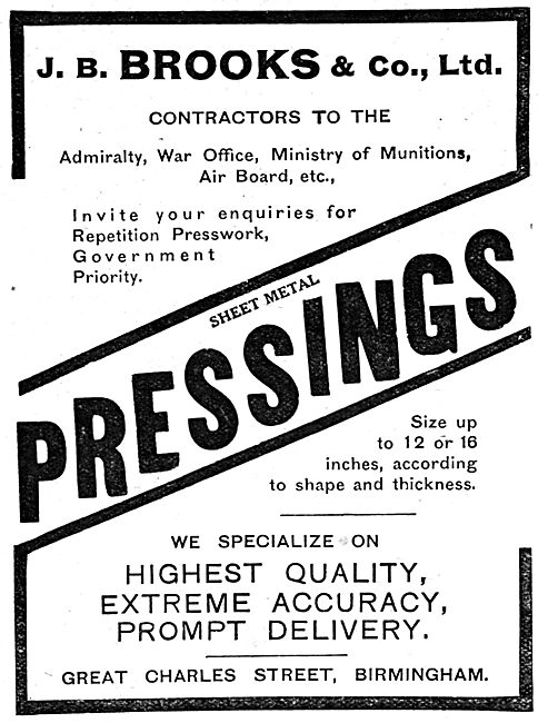 J B Brooks & Co - Sheet Metal Pressings