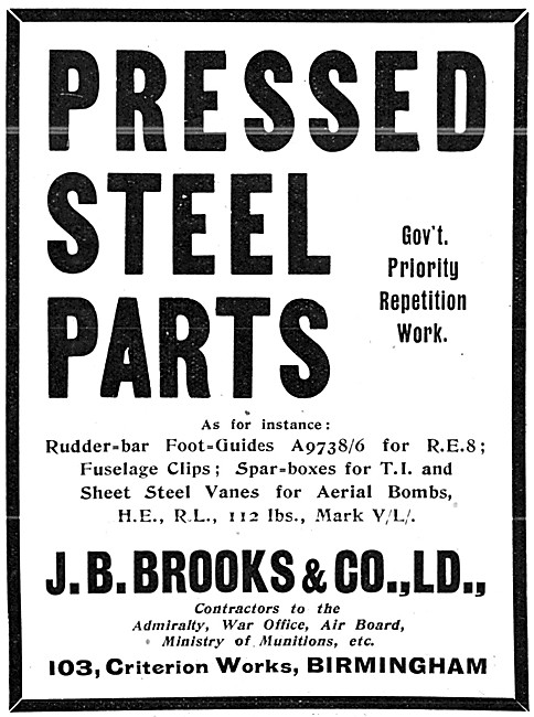 Brooks Pressed Steel Parts For Aircraft