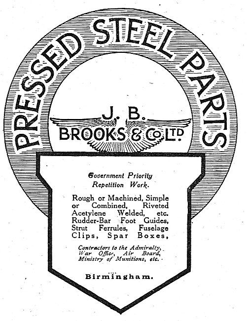 J.B.Brooks Pressed Steel Parts For Aircraft