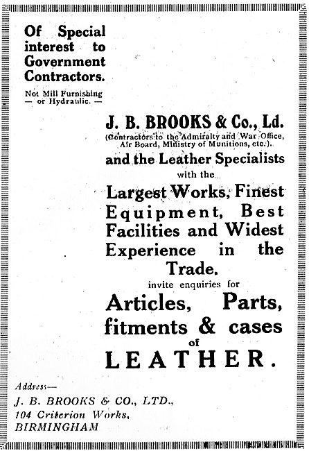 J.B. Brooks Leatherwork For Aircraft