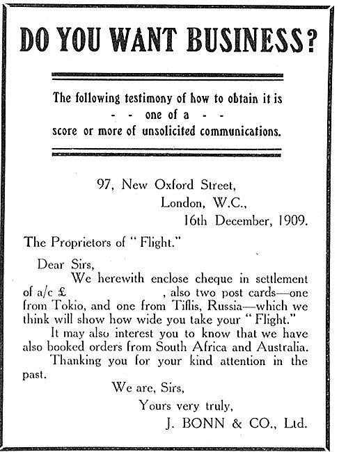 J.Bonn & Co's Testimonial For Flight Magazine Advertising