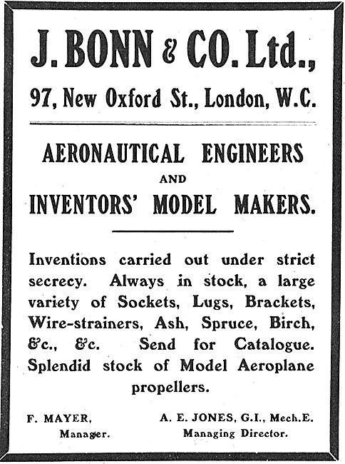J.Bonn & Co. Aeronautical Engineers & Inventors Model Makers