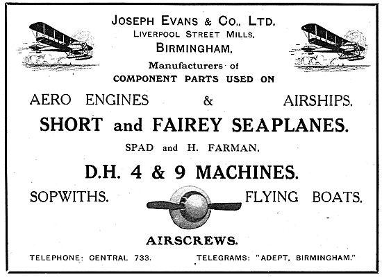 Joseph Evans & Co. Aircraft Parts Mfgs. Liverpool St Mills Bham