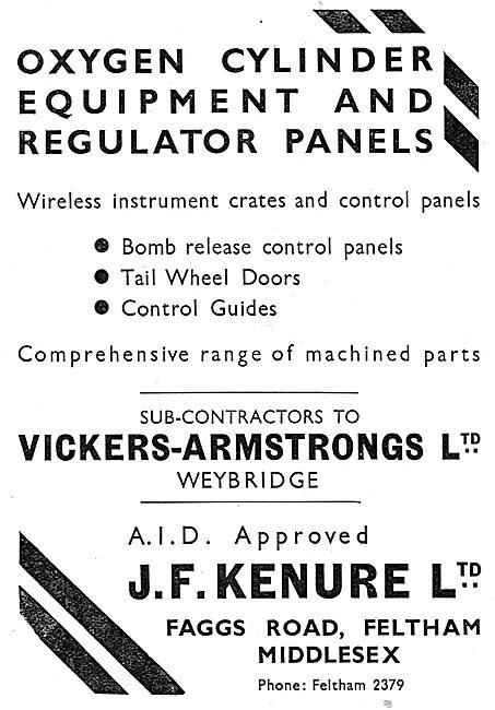 J.F.Kenure. Faggs Rd,Feltham.  Aircraft Components