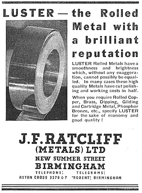 J.F.Ratcliff - Luster Rolled Metal  New Summer Street, Birmingham