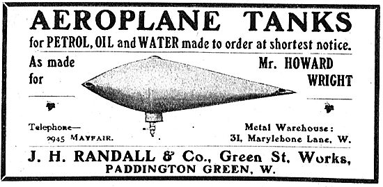 J H Randall & Co Aeroplane Petrol, Oil & Water Tanks