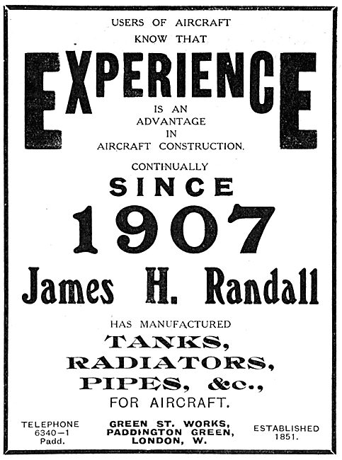 J H Randall & Co - Pipes.Radiators & Fuel Tanks For Aircraft
