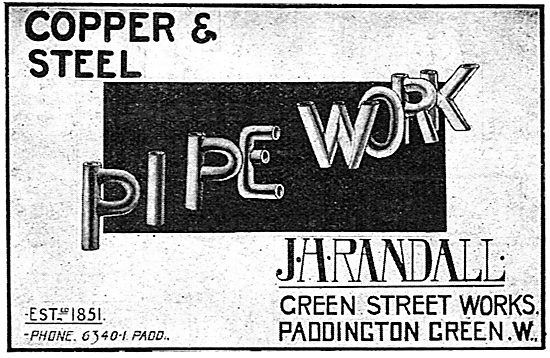 J H Randall Copper & Steel Pipework For Aeroplane Manufacturers