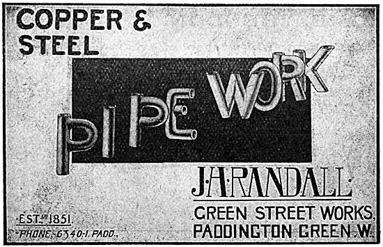 J H Randall - Copper & Steel Pipework - 1917 Advert