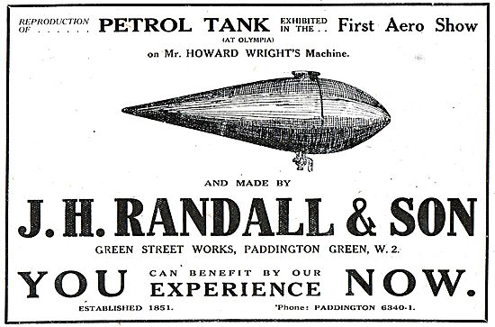 J H Randall & Co. Green St Works. Paddington Green. Fuel Tanks