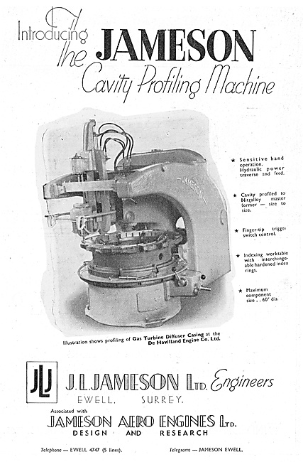 J.L.Jameson. Machine Tools. Jameson Cavity Profiling Machine