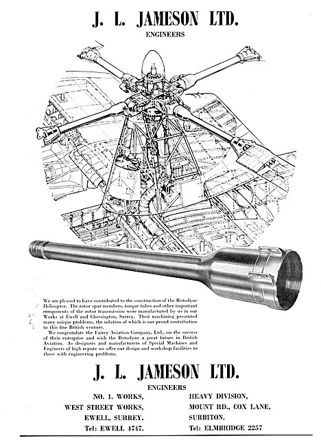 J.L.Jameson Engineers. Jigs,Tools,Machine Tools & Gauges
