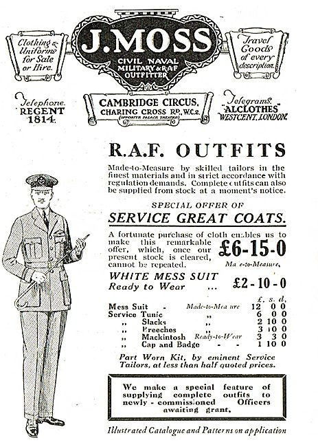 J.Moss Civil,Naval Military & RAF Outfitter - Charing Cross