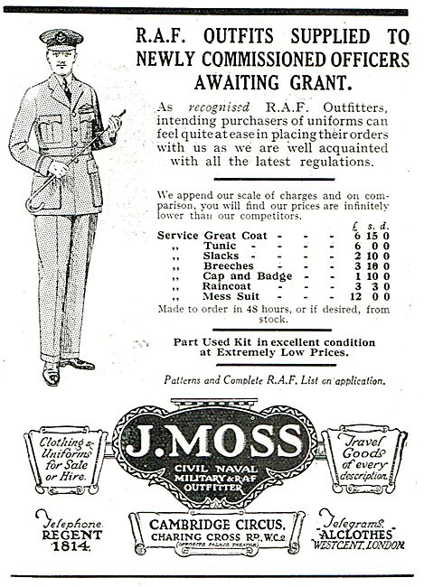 J.Moss - RAF Outfits To New Commissioned Officers Awaiting Grant