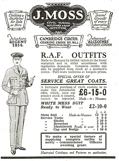 J.Moss - RAF Outfits - Special Offer Of Service Great Coats.