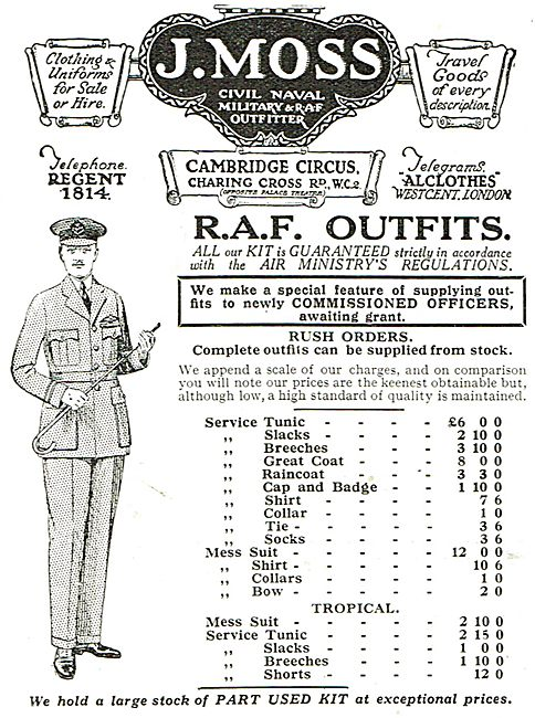 J.Moss - RAF Outfitters - Items And Prices (Inc Tropical Kit)