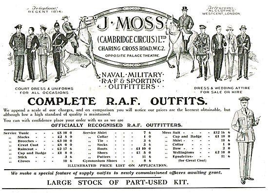 J.Moss Officially Recognised Complete RAF Outfitters