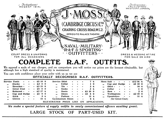 J.Moss RAF Outfitters 1929 Advert