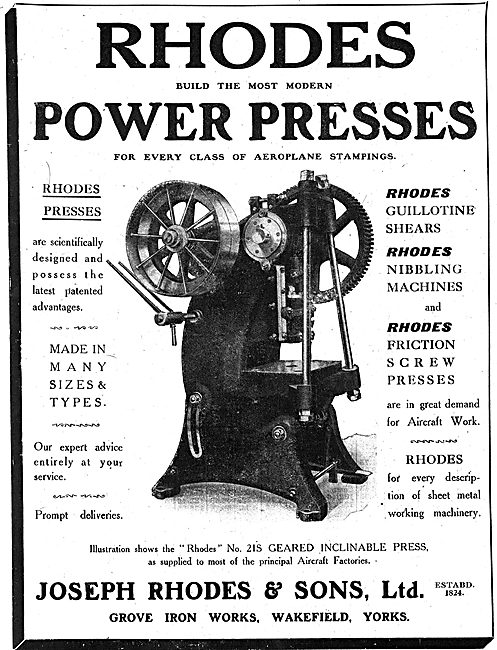 J.Rhodes & Sons. Power Presses.  Aircraft Construction Machinery