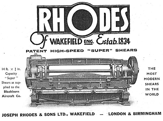 J.Rhodes & Sons. Machinery For Aircraft Constructors