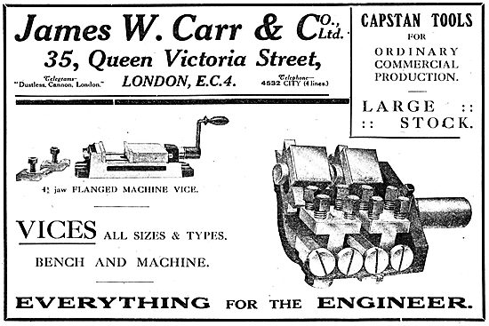 James W.Carr & Co - Vices & Capstan Tools. 1918 Advert