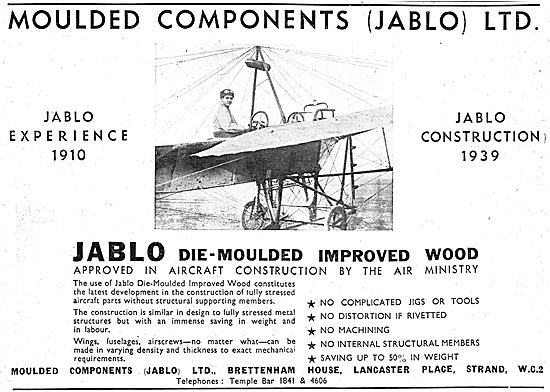 Jablo Die-Moulded Improved Wood For Aircraft Construction